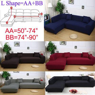 2 Seats 3 Seats Plush Stretch Sure Fit L-shaped / Sectional Sofa Slip  Covers Set | eBay