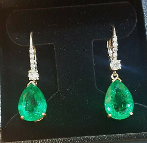 Image Is Loading 14k White Gold Gem Colombian Emerald Earrings 11