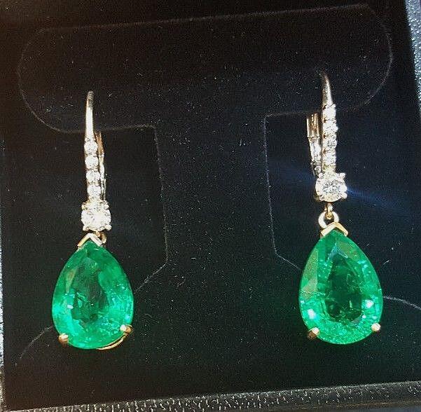 14k White Gold Gem Colombian Emerald Earrings 11 03ct Pear Shape