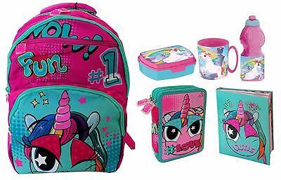 nuovi stili c1335 60630 Mate Child Girl Unicorno Set 6p Zaino Scuola,Astuccio 3zip,Diario,set  Merenda   eBay