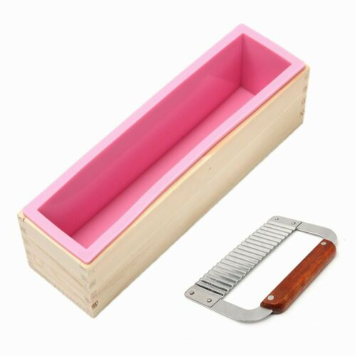 Silicone Soap Mold Wooden Box Loaf Cake Maker Cutting Slicer Cutter Making