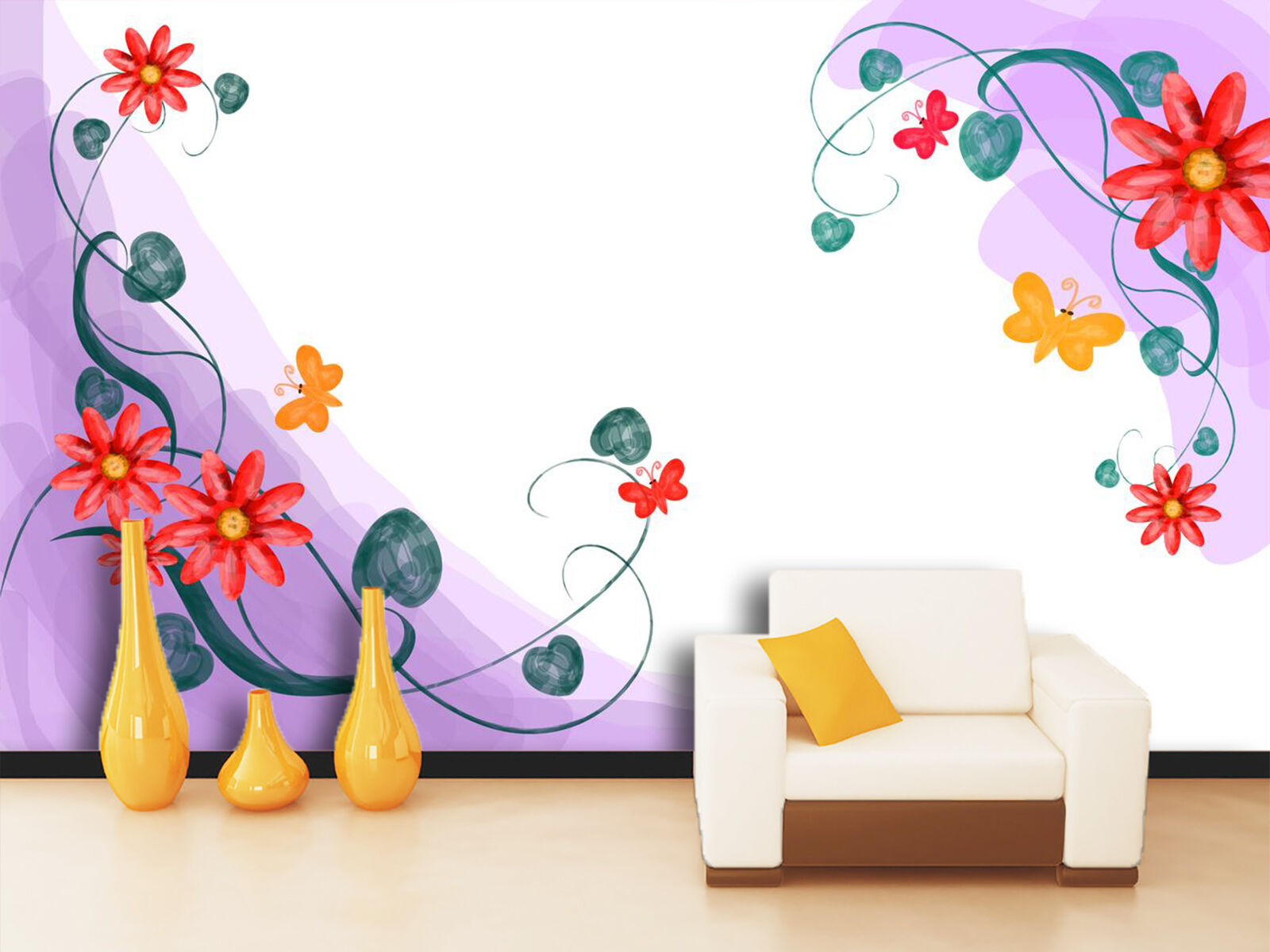3D Gorgeous Flowers Vines 2 Wall Paper Print Decal Wall Deco Indoor wall Mural