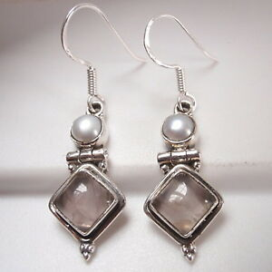 Rose-Quartz-Square-and-Cultured-Pearl-925-Sterling-Silver-Dangle-Earrings