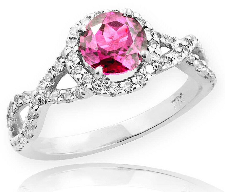 White gold Pink Topaz Birthstone Infinity Ring with Diamonds Engagement Wedding