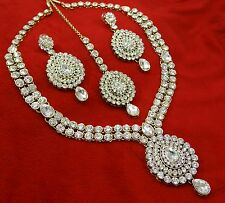 Goldtone Necklace Earring Tikka Set Ethnic Bollywood Designer Bridal Jew 2933