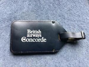 Concorde British Airways Dark Blue Leather Baggage Tag 1983 Rare lot 11