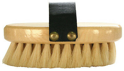 HKM Small Luxury Goat Hair Soft Wood Body Brush with Wooden Back Leather Handle
