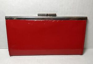 Vintage-Red-Vinyl-Wallet-Clutch-Purse-With-Chrome-Accents-And-Closure
