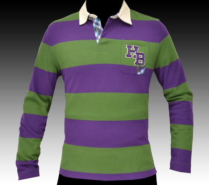 NEW HUGO BOSS Big Logo Polo Rugby Sweater Sweatshirt Long Sleeve Shirt LARGE