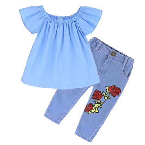 Denim Pantalon Set Kids Jeans Tenues 2PCS Bébé Filles Casual T-shirt tops