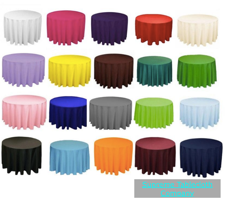 10 LOT 120  inch Tablecloth ROUND 100% Polyester Overlay 8 FarbeS 5 ft table