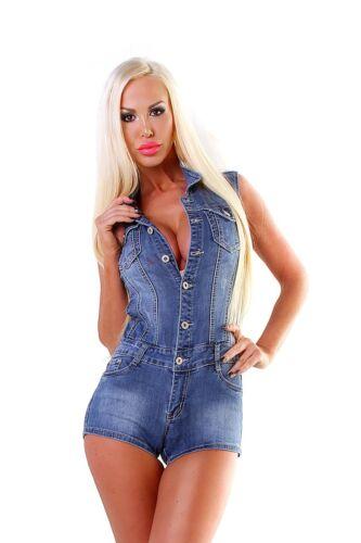 5977 Damen Jeans Overall Shorts Hotpants Hose Einteiler Jeansoverall Hosenanzug.
