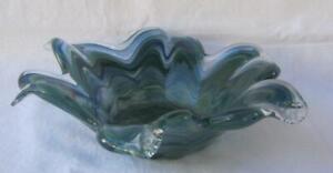 Genuine Italian Art Deco Glass Bowl Teal Green Blue Tammaro Italy Murano No 80