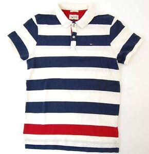 Tommy-Hilfiger-Slim-Fit-Poloshirt-Polohemd-Herren-Gr-S-blau-gestreift-S1024