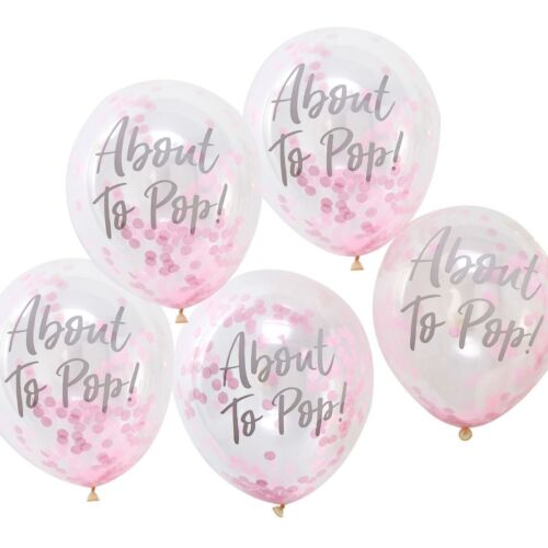 """Baby Shower Confetti Balloons Gender Reveal x 5 12/"""""""