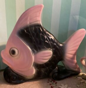 Black-amp-Pink-ANGELFISH-Vintage-MCM-PLAQUE-WALL-POCKET-PLANTER-Kitsch