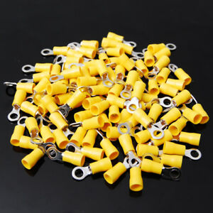 100-Vinyl-Ring-Terminal-Connector-Yellow-12-10-GA-AWG-Gauge-10-Crimp-Wire-Power