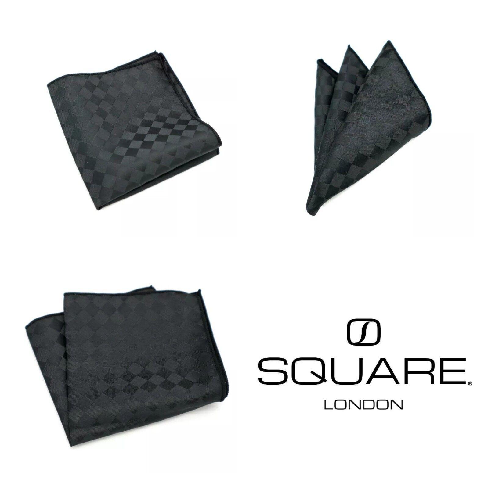 Mens Black Plaids Silk Pocket Square Handkerchief by SQUARE London