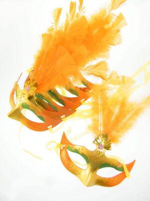 6x Maschera Occhi Maschera Venezia Molle Arancione Carnevale Ballo In Maschera-mostra Il Titolo Originale