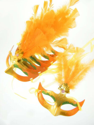 6x Maske Augenmaske Venezia Federn Orange Karneval Maskenball