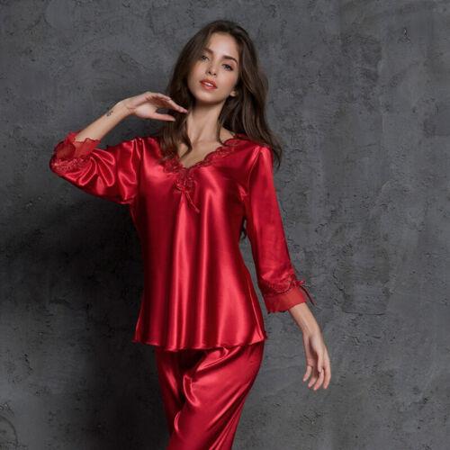 Women/'s Faux Silk Casual Pajamas Set Lace Sleepwear Thin Nightwear Two-piece