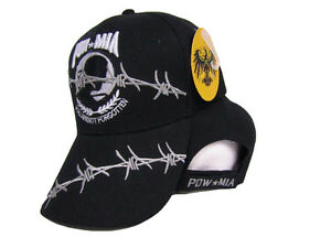 Embroidered USA Pow Mia POWMIA Barb Barbed Wire Shadow Baseball Cap ... 3d03d1ba9fa