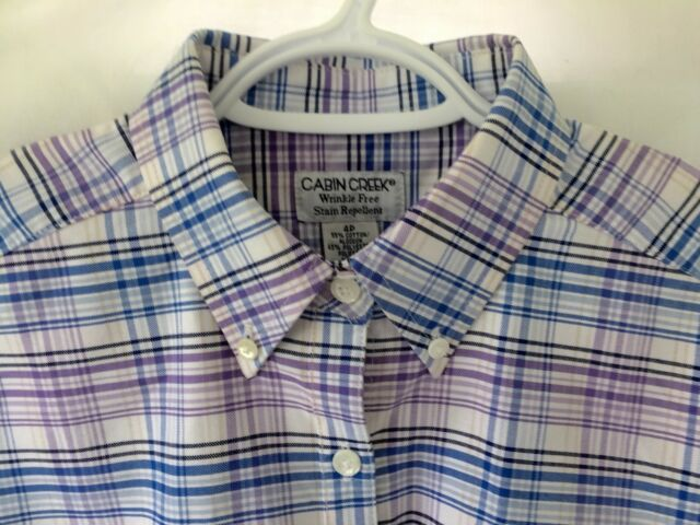 CABIN CREEK Oxford LS Shirt Womens 4 Petite Blue Purple Plaid Stain Resistant