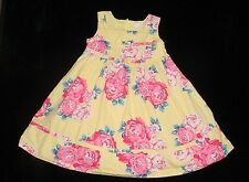 EUC Childrens Place Girls Yellow Pink Blue Cabbage Rose Dress Size 4T 4