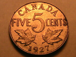 1927-Canada-5-Cents-Ch-XF-Lustrous-George-V-Five-Cent-Canadian-Nickel-Coin