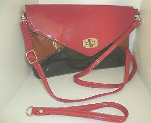 NEU-Damentasche-Tasche-Clutch-Kunstleder-Rot-Schwarz-Braun-70er-Jahre