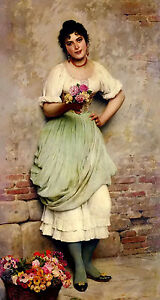 Oil-painting-eugene-de-blaas-the-flower-seller-in-the-street-Hand-painted-canv