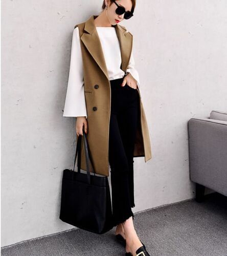 Womens wool blend vest lapel Double breasted coat long parka slim fit sleeveless