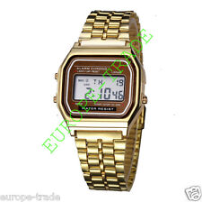 Classic Retro Vintage Style Gold Mens Ladies Digital Metal LCD Watch New