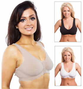 f4eb15bcc45 Image is loading Ladies-Front-Fastening-Bra-Womens-Stretch-Cotton-Multi-