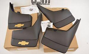 2007-2013-Chevrolet-Silverado-4-Molded-Mud-Flaps-Front-amp-Rear-Gold-Bowtie-OEM