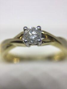 Diamond Solitaire Engagement Ring 18 Carat Yellow Gold Brilliant Cut 0.23 Carats