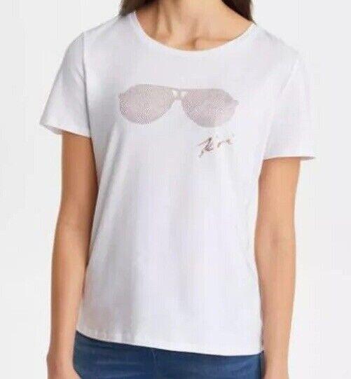 Karl Lagerfeld Paris Rhinestone Heatset Rosa Gold Glasses Graphic T-Shirt M