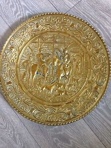 Vintage Brass Plate Hunting Scene Hunters - <span itemprop=availableAtOrFrom>lydney, Gloucestershire, United Kingdom</span> - Vintage Brass Plate Hunting Scene Hunters - lydney, Gloucestershire, United Kingdom