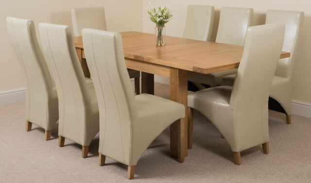 Seattle Extending Kitchen Solid Oak Dining Table And 8 Ivory Leather Chairs