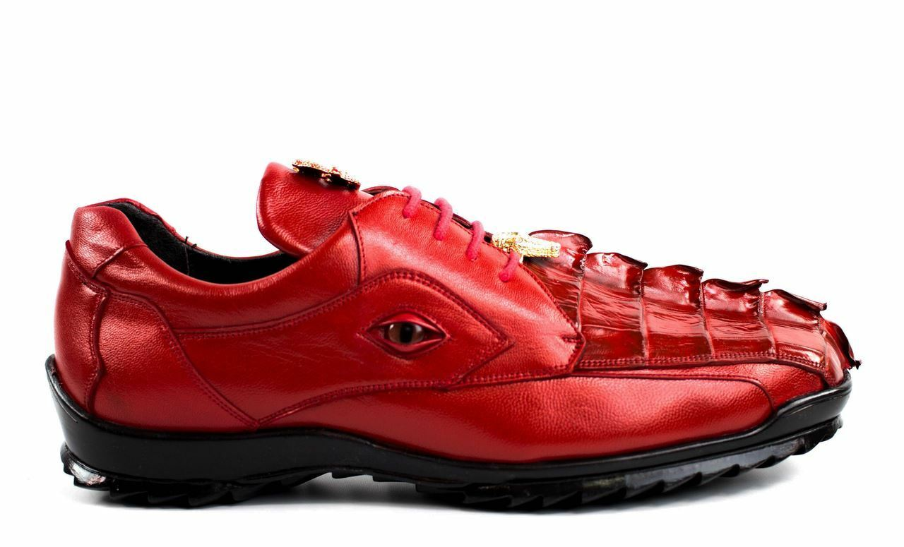 Belvedere Men's Vasco Genuine Hornback Crocodile Sneakers 336122 Red