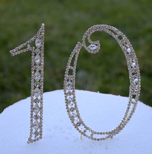 "5/"" Crystal Rhinestone Number Ten 10 Silver Cake Topper Top Tenth Birthday Party"