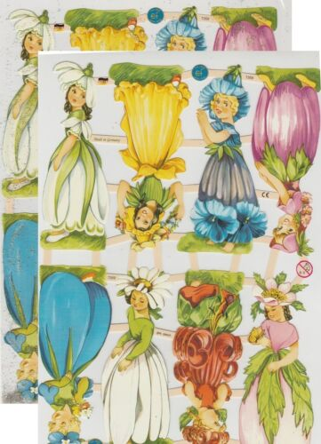 Chromo EF Découpis Fée des Fleurs 7359 Embossed Illustrations Flower Fairy