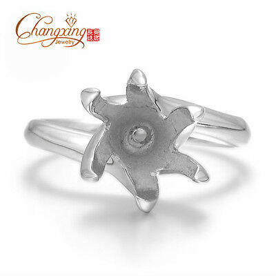 925 Sterling Silver 10mm Round Cut Semi Mount Ring Setting Free Shipping