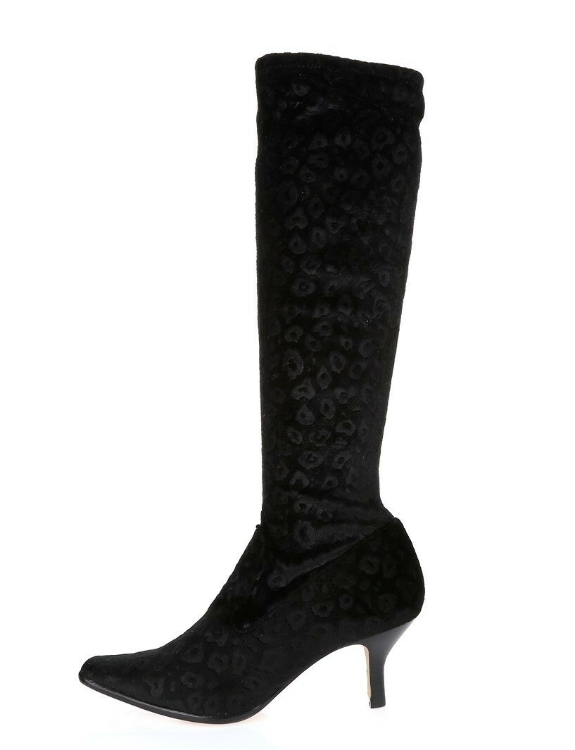 Womens DONALD J. PLINER  LUNA  Black Fabric Knee High sock Boots Sz. 8 M  298