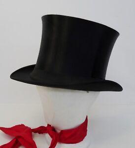 Antiker-Klapphut-Hut-Zylinderhut-Top-Hat-Chapeau-Claque-Zylinder-56cm-1900