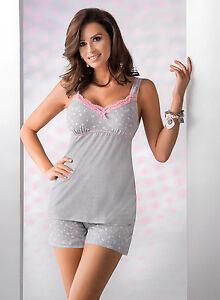 Pyjama short gris Femme lingerie de nuit