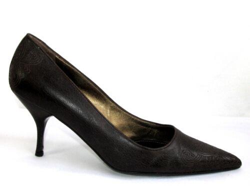 Ottime Cm condizioni Prada 38 marrone ricamo italiane Heels Pumps in 8 pelle z1qnAFqtw