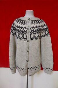 Stobi-Natural-Wool-Yarn-Hand-Knit-Denmark-Cardigan-Sweater-Womens-sz-XL