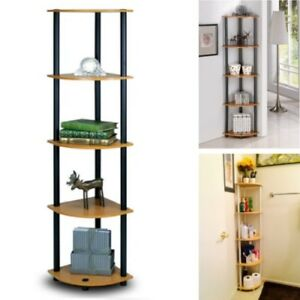 Details about Corner Display Shelf Living Room Rack Home Wall Decor Storage  Books Flat Tower