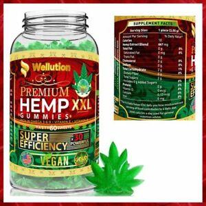 VEGAN HEMP GUMMIES Omega 3 6 9 for Sleep Stress Anxiety Relief 40000mg WELLUTION
